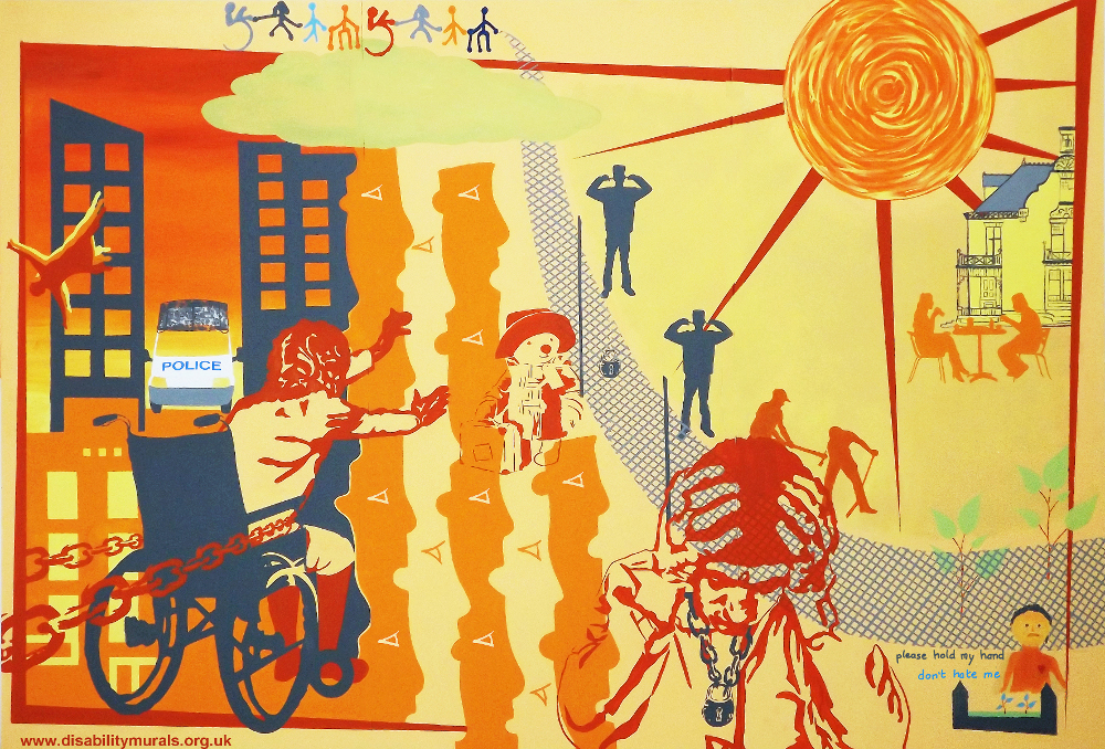 This mural is divided into two sections. The background is yellow and orange. On one side there is a big house and garden. People sit at a table drinking like in a cafe. A blue lattice fence surrounds the house. Two blue silhouettes of guards look outwards with their fingers in their ears. A big orange sun is above this side of the picture. On the other side of the fence, the colours are darker orange, the sun is replaced by a cloud in the sky. A wheelchair user reaches out, but red chains hold her back. A man stoops with his head in his hands and a padlock round his neck.  A small figure with a bleeding heart tends a grave with flowers on. Above this are the words 'please hold my hand, don't hate me'. On the left, there is a red silhouette of a woman with orange and yellow shadows. She is jumps out of a dark blue tower block with a police van outside. A montage of orange yellow faces look at the fence and the life behind it. Paddington bear stands by the gate, his suitcase in his hands. At the top a multi coloured chain of people pull on the fence.