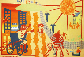 The Bristol mural is painted in shades of orange, yellow and blue. On the left of the picture there is a woman in a wheelchair who is reaching forward, but her chair is held back with chains. Behind her are tall buildings, with a falling figure, and a parked police van. On the right of the picture there is a large image of the sun, with a couple sitting and enjoying a drink - however, in front of them are other silhouettes of people with their fingers in their ears, and in the foreground the large image of someone holding his head in his hands.