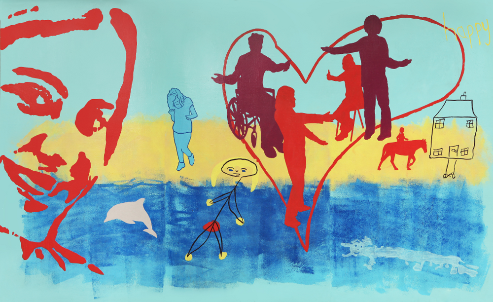 This section of the mural shows blue sky, yellow sand and blue sea. On the left there is a big smiling face. In the middle there is the outline of a big red heart with four silhouettes of people inside holding their arms out towards each other. These people are clearly taken from photographs of real people. On the left of this there is a woman running on the beach, also taken from a photograph. On the right there is a smaller red silhouette of someone horse riding towards the outline of a house with four windows, a door and a garden path. In the sea there is a stick drawing of someone with long yellow hair.  There is another drawing of a person swimming and of a dolphin.